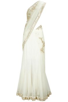 White zardozi lehenga sari with fully embroidered blouse piece available only at Pernia's Pop-Up Shop.