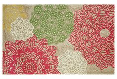 Makes me want to change my color scheme to coral, khakis and greens!  One Kings Lane - Soft Landing - Lace Tile Rug, Multi