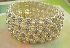 Items similar to Quadrangle // chainmaille purple sparkle cuff on Etsy. , via Etsy.