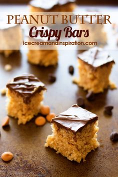 Scotcheroos are a delicious no-bake treat that's perfect for parties and picnics. These Peanut Butter Crispy Bars need only six ingredients, and no baking! Brownie Desserts, Oreo Dessert, Mini Desserts, Peanut Butter Desserts, Kinds Of Desserts, Chocolate Desserts, Strawberry Desserts, Easy Gluten Free Desserts, Easy Desserts