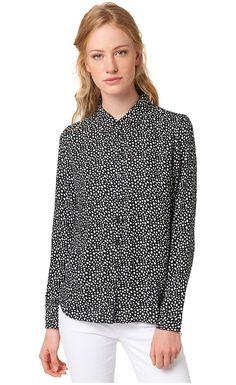 Bluse mit Allover-Print für Frauen (gemustert, langärmlig mit Kent-Kragen und Knopfleiste) aus feinem Voile gefertigt, mit leichter Raffung am Rücken, krempelbare Ärmel. Material: 100 % Viskose...