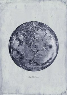 Map of the Moon Print Recovered Vintage Image to Frame