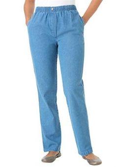 Women's Plus Size Petite Jean, Pull On, Elastic Waist