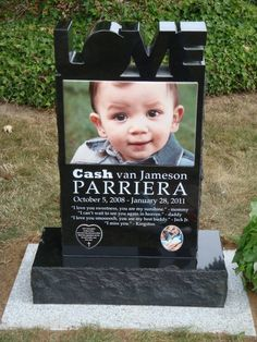 Custom modern headstone design with huge ceramic picture and carved LOVE letters.
