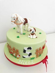 Horse cake Horse cake by Dasa<br> Farm Birthday Cakes, Horse Birthday Parties, Birthday Cake Girls, Fondant Horse, Horse Cake Toppers, Bolo Mickey, Paris Cakes, Pony Cake, Farm Cake