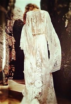jipy-chic* long lace robe. For boho under stars wedding weekend to wear about all weekend after wedding at night or what have you