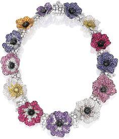 """Diamonds in the Library: Michele della Valle's """"anemone"""" necklace."""