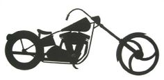 """Chopper Free Standing Silhouette by Innovative Fabricators, Inc.. $16.00. Made in the USA. Laser cut from 18 gauge steel. Free standing - does not hang. Black wrinkle powder coat. Description: This chopper silhouette stands freely on a surface. Laser cut for the best quality and detail. Size: 12"""" x 5 1/2"""". Material:18 gauge steel. Finish: Black wrinkle powder coat."""