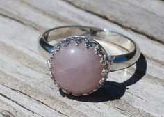 Sterling Silver Rose Quartz Ring by Beazora on Etsy