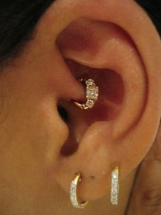 Daith Ear piercing jewelry with Bold Gold Earring with Diamond - More Gallery @ wp.me/p3zqJ1-rP