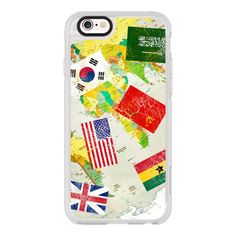 Nation flag-world map - iPhone 6s Case,iPhone 6 Case,iPhone 6s Plus... (125 BRL) ❤ liked on Polyvore featuring accessories, tech accessories, iphone case, iphone cases, iphone cover case, clear iphone cases, iphone hard case and apple iphone cases