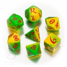 """""""Candy"""" set - Yellow-green with red numbers"""