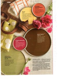 Better Homes & Gardens color palette of olive and brown - living room/ kitchen! Room Colors, Wall Colors, House Colors, Paint Colors, Paint Schemes, Colour Schemes, Color Combos, Better Homes And Gardens, Wedding Consultant