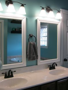 Master Bathroom...replace the large glass mirror with two smaller ones and place the handtowel hardware in between.  Great for our small master!!