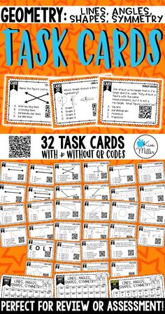 Geometry Task Cards - Lines, Angles, Shapes, Symmetry: Review, Test Prep, Scoot Game, Math Centers