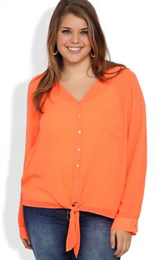 Deb Shops Plus Size V-Neck Sun Washed Neon Top with Front Tie and Rolled Sleeves $18.67