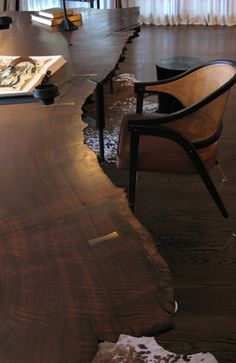 Claro Walnut slab table | a view from above
