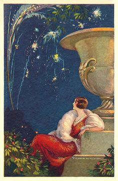 A beautiful 1920s evening look illuminated by fireworks.