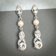WILEEN, Pearl Chandelier Bridal Earrings, Swarovski Crystal Oval Ribbon Wedding Earrings, Silver Bridal Jewelry, Vintage Inspired Dangles