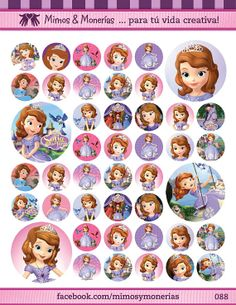 """Sofia the first Bottle Cap Images - 8.5"""" x 11"""" Digital Collage Sheet - 1"""" Circles for Hair Bows"""