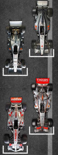 50 Years of F1, the cars. 2001-2008. MP4-16, MP4-20, MP4-21 and the MP4-23.