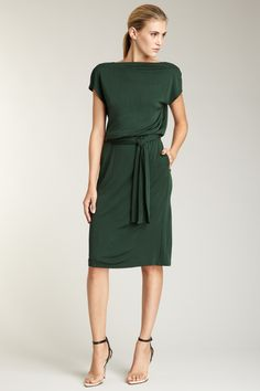 Cap Sleeve Boatneck Dress - Gorgeous Green!