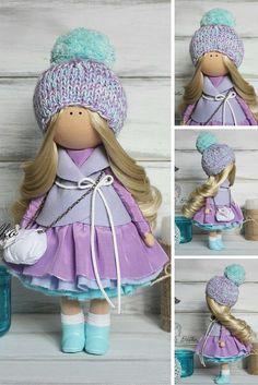 Tilda doll handmade pink violet blonde Home doll Art doll Baby doll unique magic doll by Master Margarita Hilko