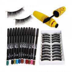 3PCS 12 Colors Eyeliner Eye Shadow Pen 10 Pairs False Eyelashes Mascara Eye Makeup Set. Get 12 color eye liner /eye shadow pens. 10 Pairs of false eye lashes and Mascara. Create your own stunning looks like a profession makeup artist. You will love the quality and long lasting effects for less. Great for professional use. or Personal use  for that beauty queen look.