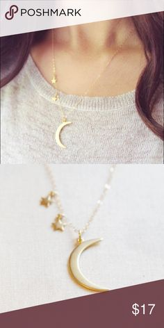 """✨Crescent Moon Star Gold Necklace ✨Gold crescent moon necklace with star charms! ✨ Brand new Zinc Alloy 18"""" chain with 2"""" extender Lobster clamp Jewelry Necklaces"""