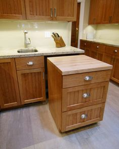 Extra counter top space with pullout cabinet base.