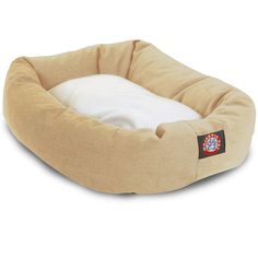 """Bagel Dog Bed By Majestic Pet Products Khaki 40"""" x 29"""" - Large"""