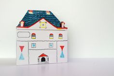 ITALIAN ceramic HOUSE cookie jar box porcelain painted 3D decor J.W. Co..