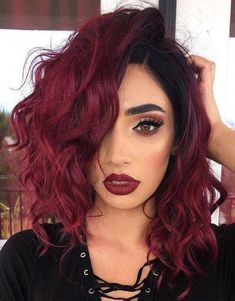 Length Hairstyle With Matching Makeup Look For 2019 Medium Length Hairstyle with Matching Makeup Look for 2019 Red Hair black red hairMedium Length Hairstyle with Matching Makeup Look for 2019 Red Hair black red hair Red Ombre Hair, Dyed Red Hair, Bright Red Hair, Red Hair Color, Hair Colors, Hair Dye, Black And Red Ombre, Black Bob, Dark Red
