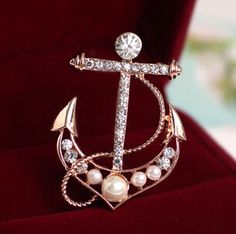 Perfect Gifts Rose Gold Plated Nautical Anchor Brooch with Zircon and Pearl