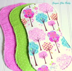 Baby Girl Burp Cloths - Triple Layer Chenille Set of 3 - Pretty Little Things Trees, Apple Green Dots & Pink Paisley