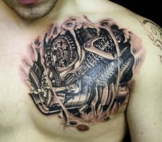 3d realistic motorcycle parts tattoo broken skin | Flickr - Photo Sharing!