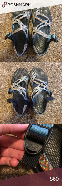 Chacos Rainbow chacos, women's size 8. Worn only for about a year, so they are in great condition. The end strap has been cut because it was really long, but they never come undone while wearing. Chaco Shoes Sandals