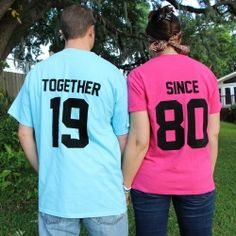 Create matching t-shirts for that couple celebrating their anniversary using fabric paint and freezer paper. Easy as pie!