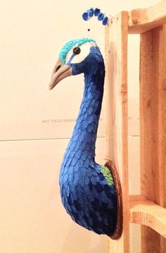 wall mount soft sculpture peacock by marymake on Etsy: