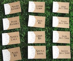 Set of 24 Rustic Doily Place Card  Personalized by PaperNSort, $16.80 I can probably make these myself