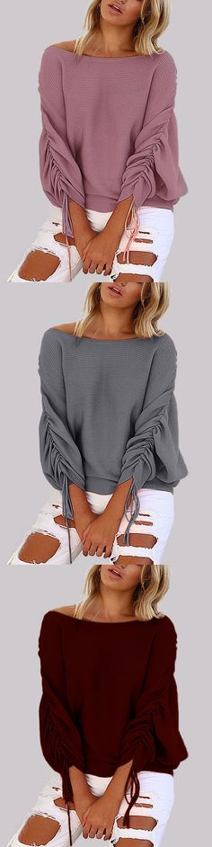 Pink Lace-up Design One Shoulder Long Sleeves Sweaters