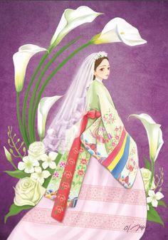 """열두달의 꽃과 한복을 입은 열두명의 소녀. 소녀, 꽃 속에서 노닐다. 연작 10월의 탄생화 카라 꽃말은 """"순수, 천년의 사랑"""""""