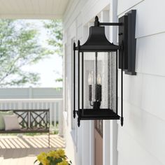 Sol 72 Outdoor Caswell 3 - Bulb H Outdoor Wall Lantern Outdoor Barn Lighting, Garage Lighting, Outdoor Ceiling Fans, Outdoor Sconces, Outdoor Wall Lantern, Porch Lighting, Exterior Lighting, Outdoor Walls, Wall Sconce Lighting