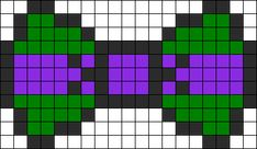 Donatello Ninja Turtle Bow  perler bead pattern