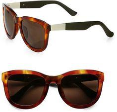 The Row Oversized Square Leather & Acetate Sunglasses
