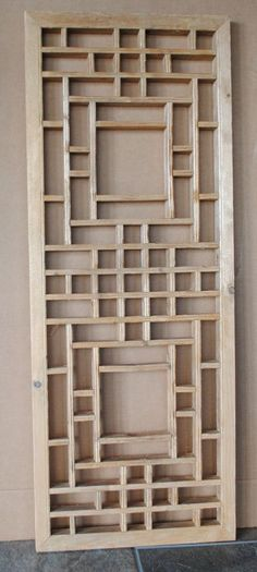 "Antique Asian Chinese Window Screen Panel Wall Art  H 43-1/2"" x W 16-1/2"""