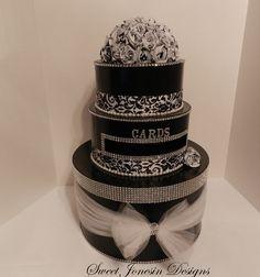 Black and White Damask Wedding Card Box & Silver by SweetJonesin, $125.00