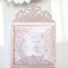 Blush Pink Laser Cut Wedding Invitation with Glittery Spring Cherry Blossom Tree