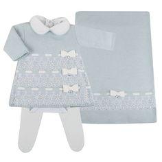 Saída de Maternidade FAZER NA ELO7 EM BRANCO PARA BATIZADO? Vestido Renda Inglesa - Azul com Branco - Petit Mouton - Novo Bebe