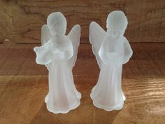 Frosted Glass Angel Figurines  Pair of Winged by EightBoardsFarm, $12.00